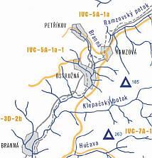 Mapa - Ostružná a okolí